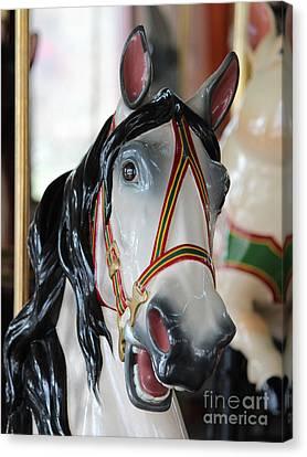 Carousel White Horse Black Mane Canvas Print by Robert Yaeger