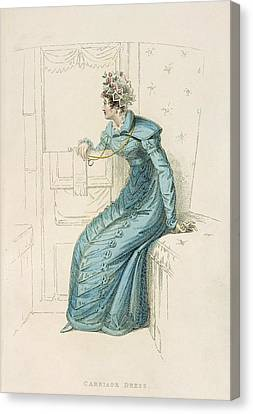 Carriage Dress, Fashion Plate Canvas Print by English School