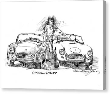 Carroll Shelby And The Cobras Canvas Print by David Lloyd Glover