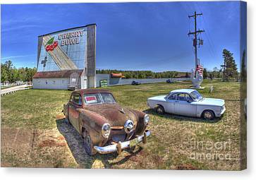 Cars At The Drive-in Canvas Print by Twenty Two North Photography