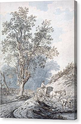 Cart And Horse Canvas Print by Joseph Constantine Stadler