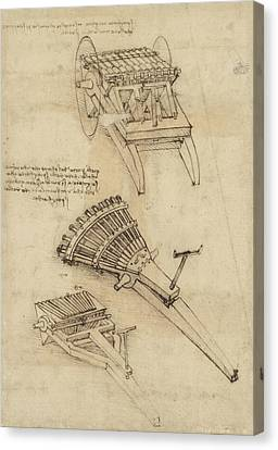 Cart And Weapons From Atlantic Codex Canvas Print by Leonardo Da Vinci