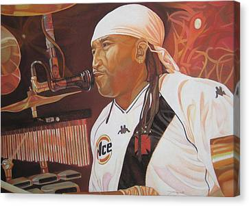 Carter Beauford At Red Rocks Canvas Print by Joshua Morton