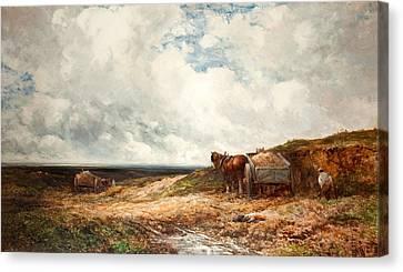 Carting Gravel Canvas Print by Edmund Morison Wimperis
