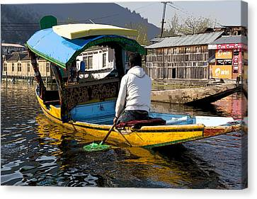 Cartoon - Kashmiri Man Driving This Shikara In The Still Waters Of The Dal Lake In Srinagar Canvas Print by Ashish Agarwal