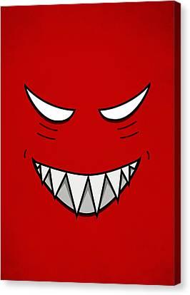 Cartoon Grinning Face With Evil Eyes Canvas Print by Boriana Giormova