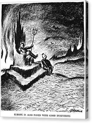 Cartoon: Hitler & Mussolini Canvas Print by Granger