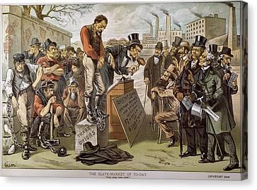 Cartoon Slave Labor, 1884 Canvas Print by Granger