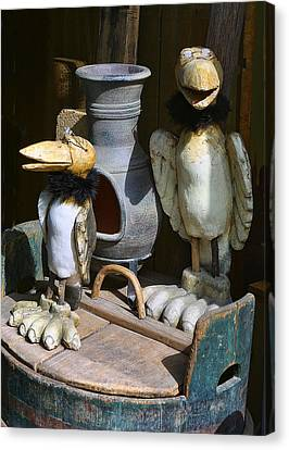 Carved Wooden Birds Canvas Print by Linda Phelps