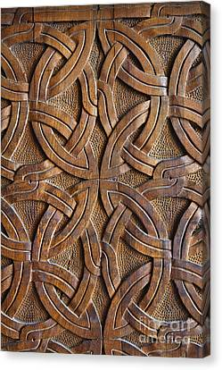 Carved Wooden Door In The Tsminda Sameba Cathedral Tbilisi Canvas Print by Robert Preston