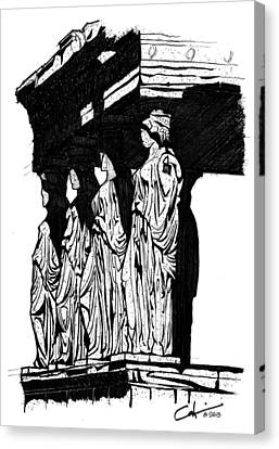 Caryatids In High Contrast Canvas Print by Calvin Durham