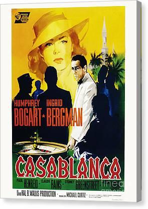 Casablanca Movie Poster Bogart Bergman Canvas Print by MMG Archive Prints