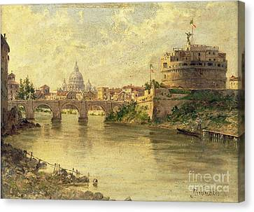 Castel Sant Angelo And St. Peters From The Tiber Canvas Print by Antonietta Brandeis