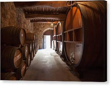 Castelle Di Amorosa Barrel Room Canvas Print by Scott Campbell