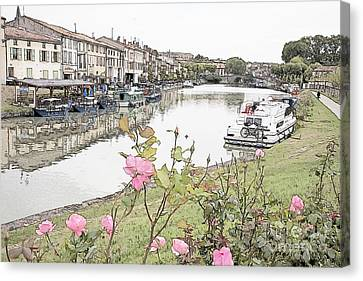 Castelnaudary At The Canal Du Midi Canvas Print by Heiko Koehrer-Wagner