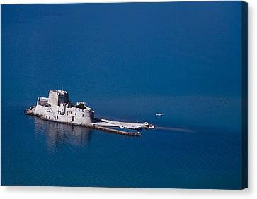 Castle Bourtzi Canvas Print by David Waldo