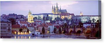 Castle Lit Up At Dusk, Hradcany Castle Canvas Print by Panoramic Images