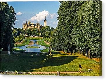 Castle Of Schwerin Landscape Canvas Print by Michael Lobisch-Delija