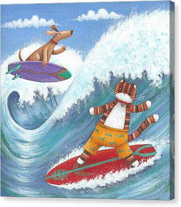 Cat And Dog Surfing Canvas Print by Peter Adderley