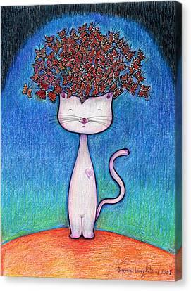 Cat And Monarcas Canvas Print by Daniel Levy policar