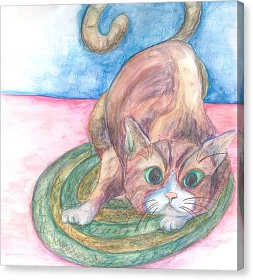 Cat In Action Canvas Print by Cherie Sexsmith