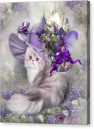 Cat In Easter Lilac Hat Canvas Print by Carol Cavalaris