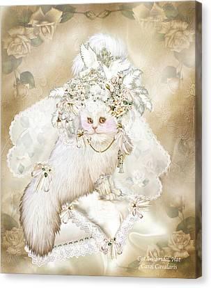 Cat In Fancy Bridal Hat Canvas Print by Carol Cavalaris