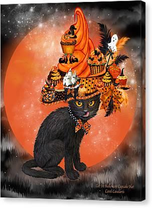Cat In Halloween Cupcake Hat Canvas Print by Carol Cavalaris