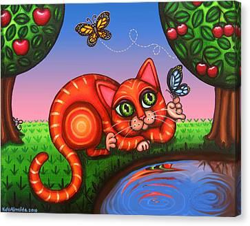 Cat In Reflection Canvas Print by Victoria De Almeida
