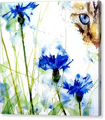 Cat In The Cornflowers Canvas Print by Paul Lovering