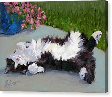 Cat On A Hot Day Canvas Print by Alice Leggett
