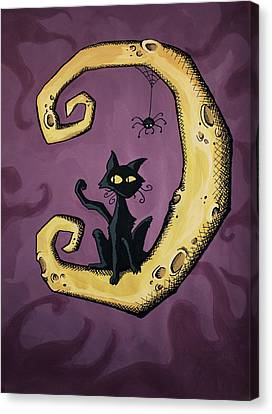 Cat On The Moon Canvas Print by Sara Coolidge