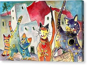 Cat Town In Lanzarote Canvas Print by Miki De Goodaboom