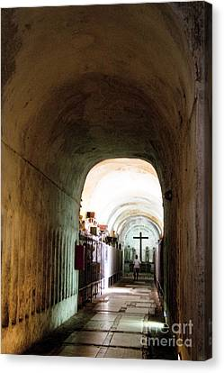Catacombs In Palermo Canvas Print by David Smith
