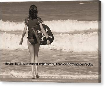Catch A Wave Quote Canvas Print by JAMART Photography