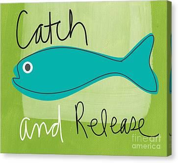 Doodle Art Canvas Print featuring the painting Catch And Release by Linda Woods