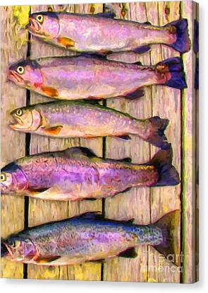 Catch Of The Day - Painterly - V1 Canvas Print by Wingsdomain Art and Photography