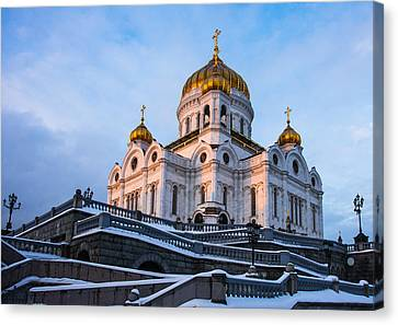 Cathedral Of Christ The Savior At Winter Sunset - Featured 2 Canvas Print by Alexander Senin