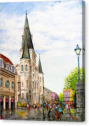 Cathedral Plaza - Jackson Square, French Quarter Canvas Print by Dianne Parks