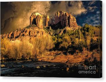 Cathedral Rock Before The Rains Came Canvas Print by Jon Burch Photography