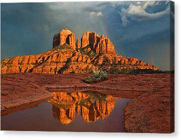 Cathedral Rock Rainbow Canvas Print by Guy Schmickle