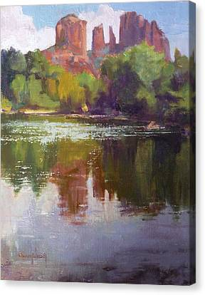 Cathedral Rock Reflection Canvas Print by Sharon Weaver