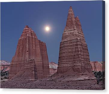 Cathedral Valley Moonrise Canvas Print by Leland D Howard