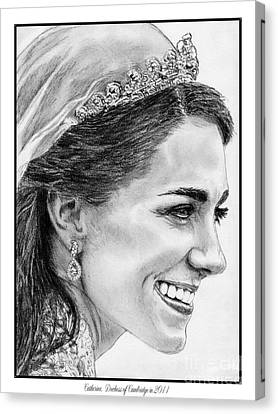 Catherine - Duchess Of Cambridge In 2011 Canvas Print by J McCombie