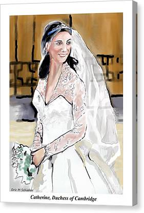 Catherine Duchess Of Cambridge Print  Canvas Print by Eric  Schiabor