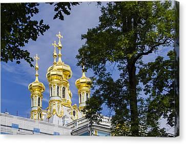 Catherine Palace  Cupolas - St Petersburg Russia Canvas Print by Jon Berghoff