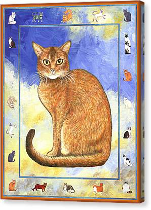 Cats Purrfection Two - Abyssinian Canvas Print by Linda Mears