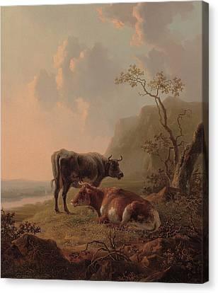 Cattle In An Italianate Landscape Canvas Print by Jacob van Strij