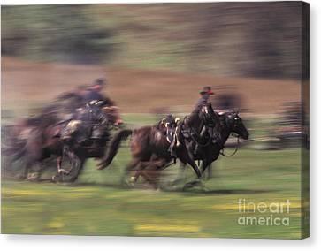 Cavalry Battle At A Civil War Canvas Print by Ron Sanford