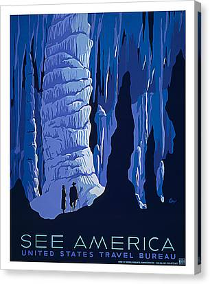 Caverns And Caves American Travel Canvas Print by Elaine Plesser
